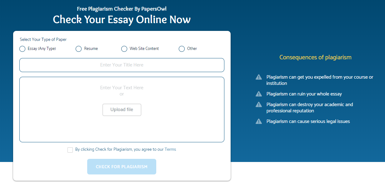 PapersOwl.com Plagiarism Checker